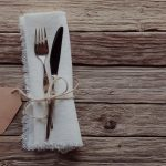 Rustic Table Setting with Blank Tag on Wood Table